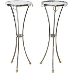 Pair of Chrome & Brass Pedestals by Maison Jansen