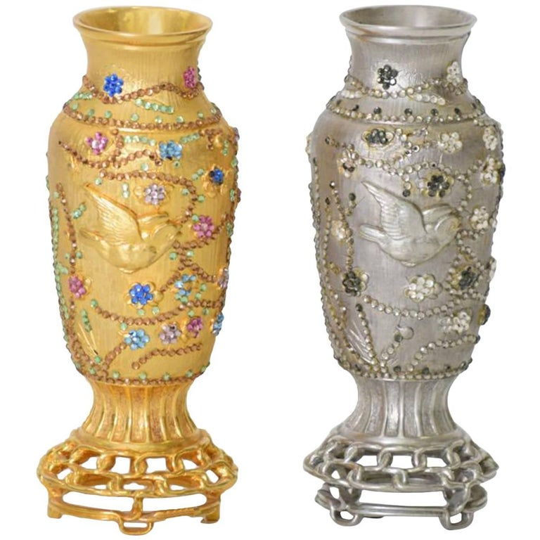 Rare Judith Leiber Asian Holiday Jeweled Vases For Sale