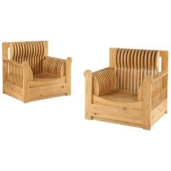Pair of 1960s Slatted Pine Armchairs by Mario Ceroli