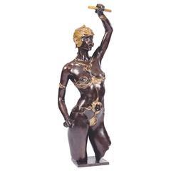 """Bronze Sculpture """"The Amazon"""" by the Artist Jacques Le Nantec"""