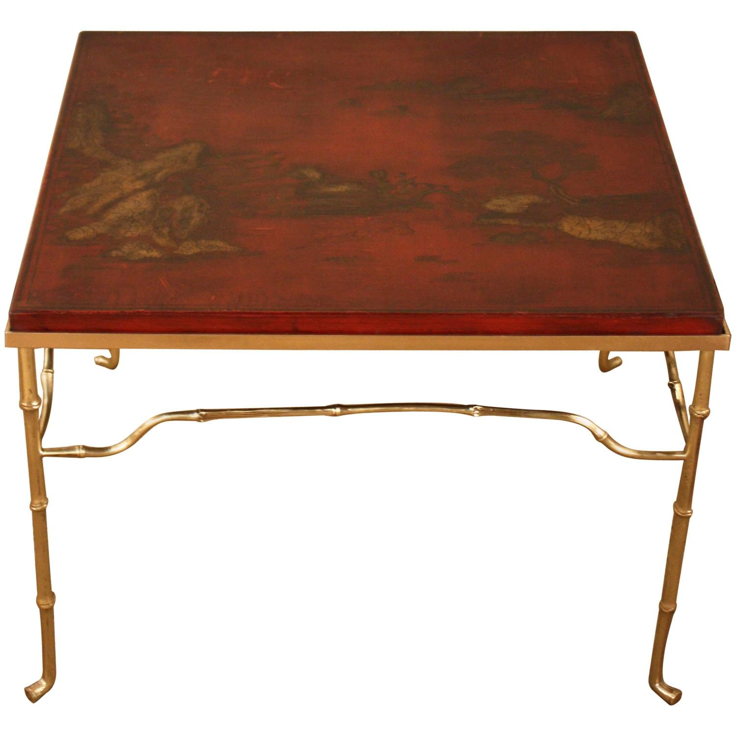French Bronze Faux Bamboo Coffee Table With Red Lacquer Top By Bagues For Sale At 1stdibs