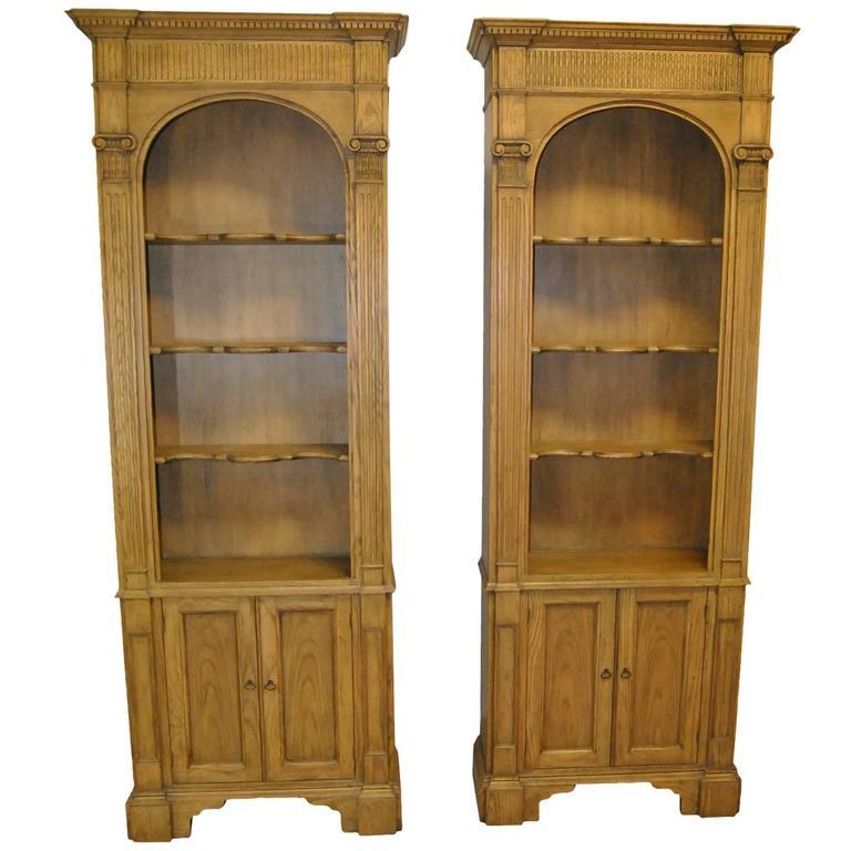 Pair Of Georgian Ash Open Bookshelf Cabinets By Baker