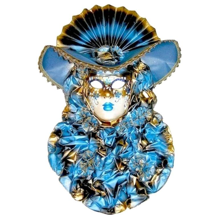 Italian Modern Venetian Carnival Handmade Blue Mask with Flower Pleated Jabot For Sale