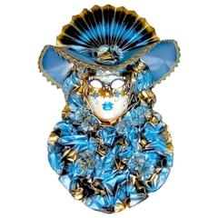 Italian Modern Venetian Carnival Handmade Blue Mask with Flower Pleated Jabot