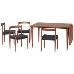 Nanna Ditzel Four Chairs  and Dining Table with Drop Leaf, Teak, 1955