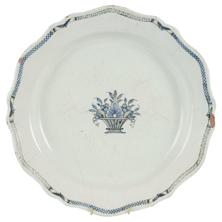 1880 Blue and White Faience Charger