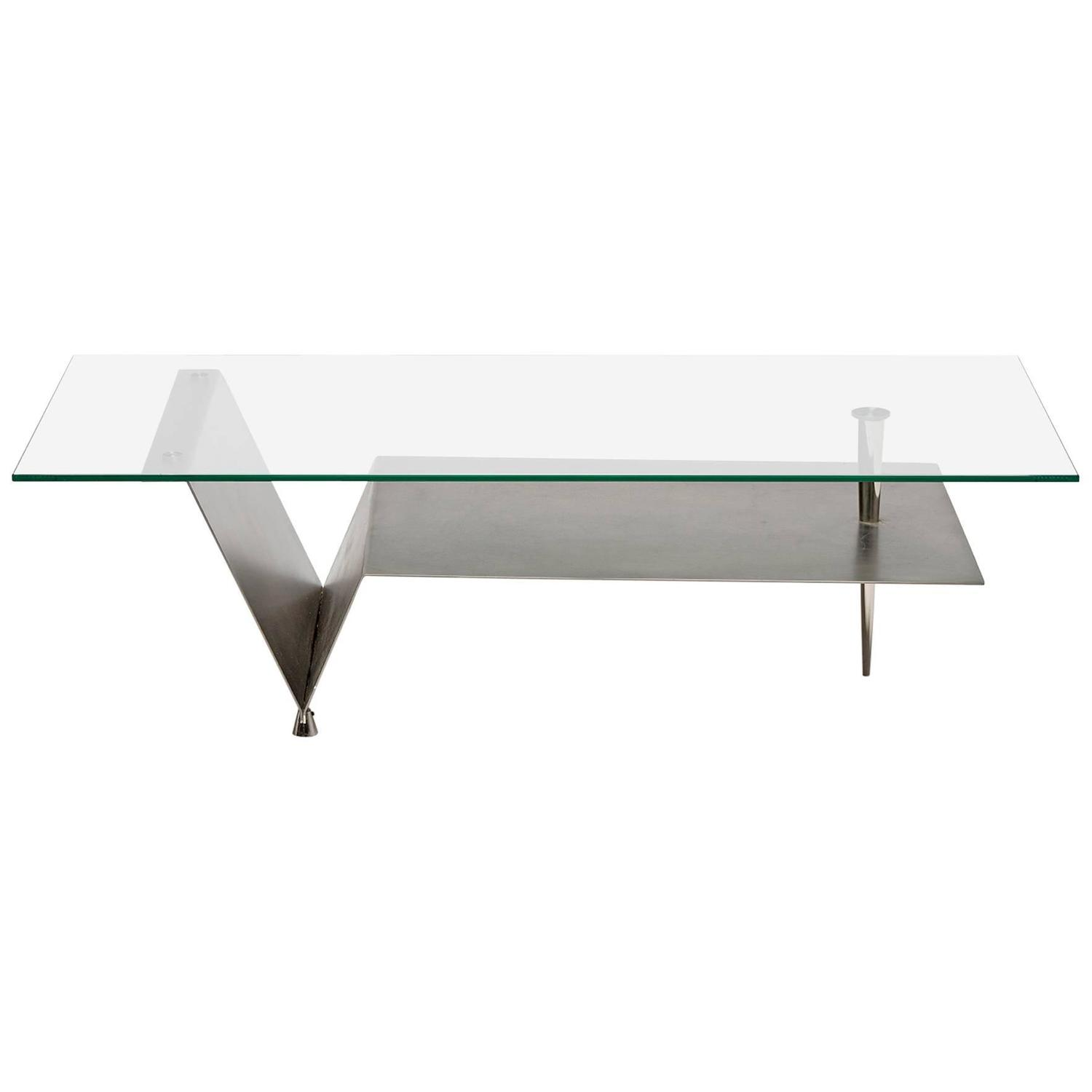 Coffee table steel and glass for sale at 1stdibs Steel and glass coffee table