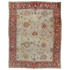 Antique Persian Sultanabad Carpet, Handmade Oriental Rug, Light Blue, Ivory, Red