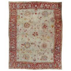Antique Persian Sultanabad Carpet, Handmade Oriental Rug, Light Blue, Ivory, Red