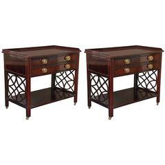 Pair of Chinese Chippendale Mahogany Nightstands by Baker