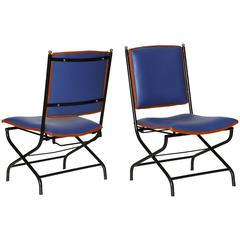 Pair of Leather and Bronze Adjustable Lounge Chairs by Jacques Adnet