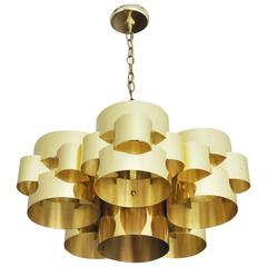 1970s Brass Cloud Chandelier by Curtis Jere