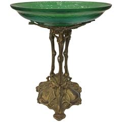 Art Nouveau Loetz Spider Web Bowl on Stand, circa 1900