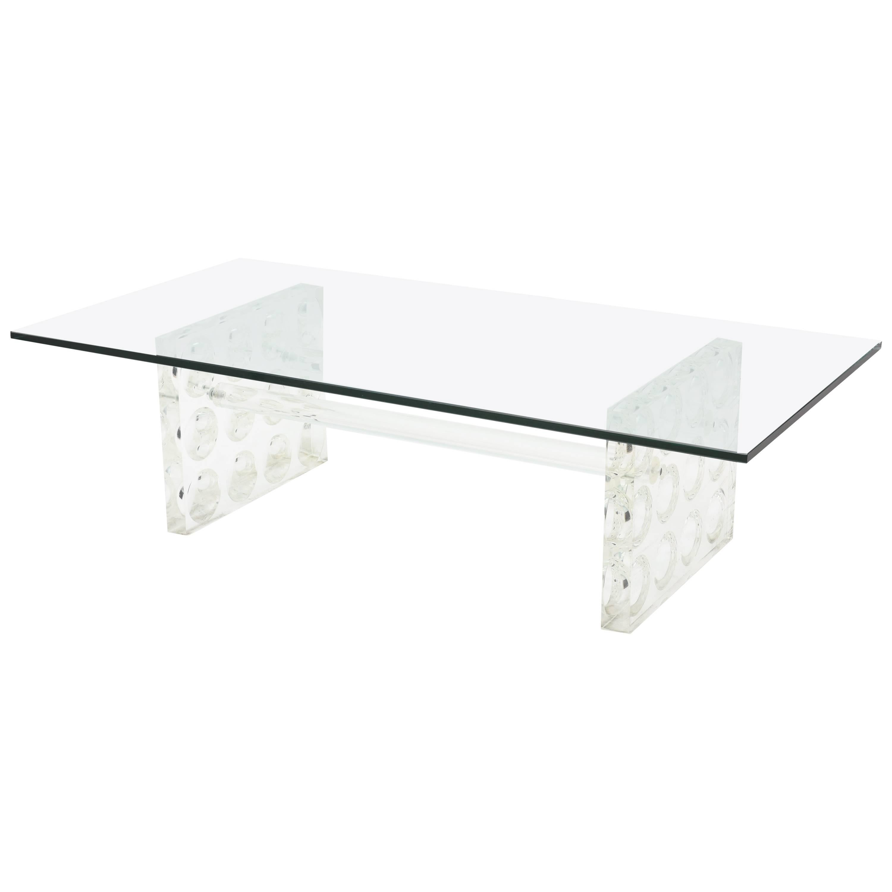American Modern Lucite and Glass Low Table, Charles Hollis Jones