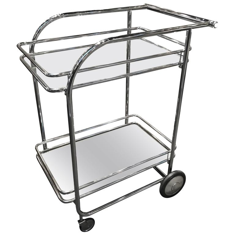 Italian Modern Chrome and Glass Bar Cart