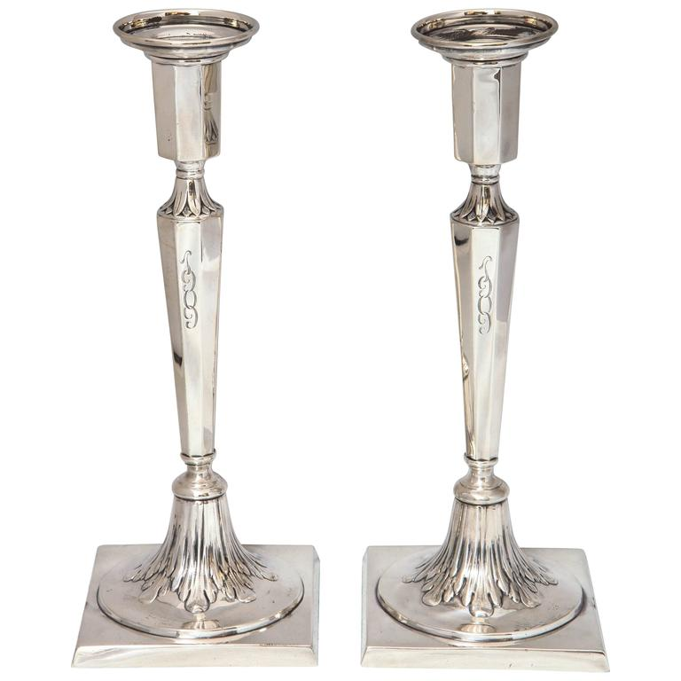Pair of Sterling Silver Adams-Style Candlesticks