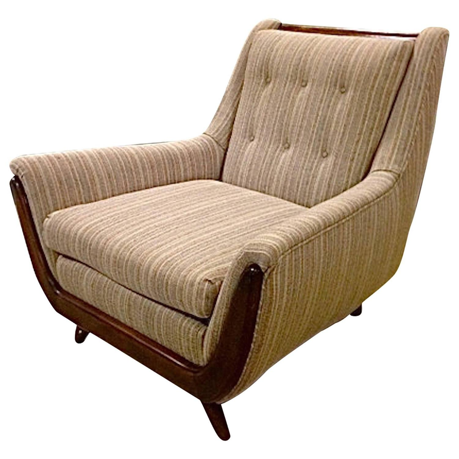 Handsome Club Chair with Walnut Trim in the style of Adrian