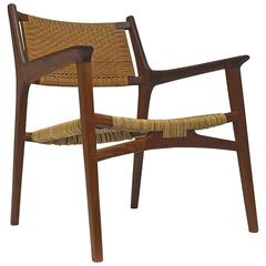 Hans J. Wegner for Johannes Hansen JH-516 Teak Cane Easy Chair, 1951