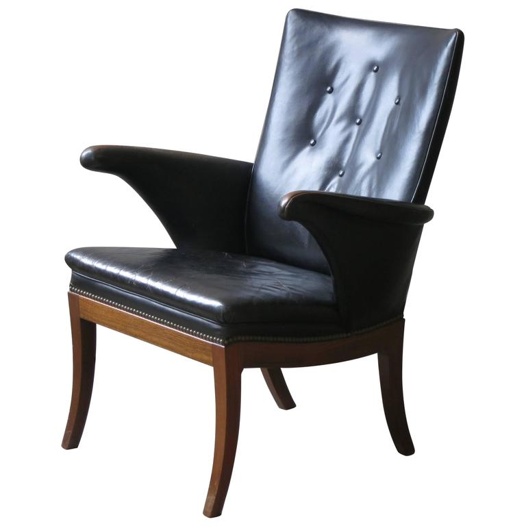 Armchair in Original Black-Brown Leather by Frits Henningsen, 1930s For Sale