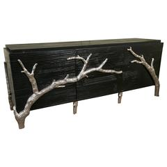 Ebonized Sideboard with Silver Gilt Metal Drawer Pulls