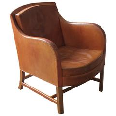 "Early ""Mix"" Easy Chair in Original Niger Upholstery and Mahogany by Kaare Klint"