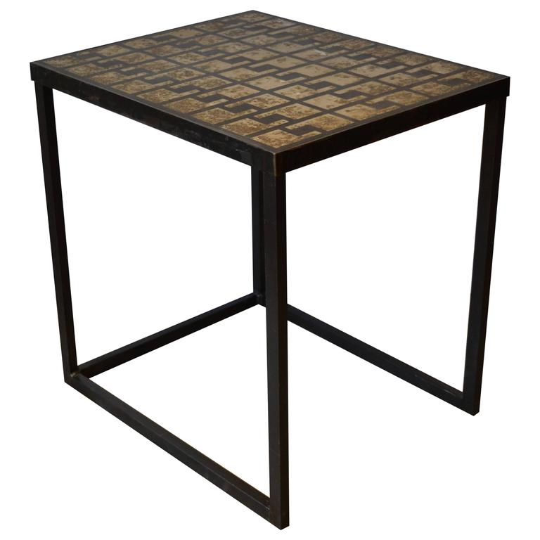 Industrial Metal And Concrete Top Key Pattern Side Table For Sale At - Industrial concrete side table