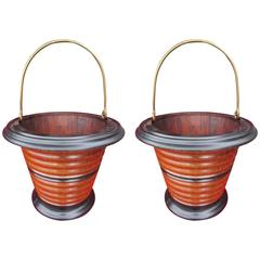 Two Antique Dutch Kettle or Peat Buckets of Coopered Construction ( winecooler )