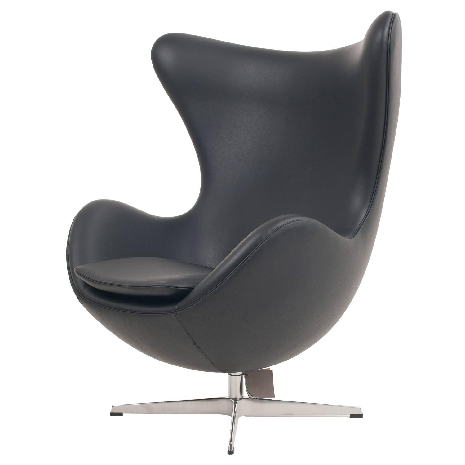 Arne jacobsen egg chair white - Genuine Arne Jacobsen Egg Chair Black Leather Fritz Hansen At 1stdibs