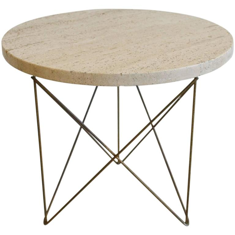 Rene Brancusi Travertine And Brass Wire End Table 1
