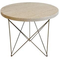 Rene Brancusi Travertine and Brass Wire End Table