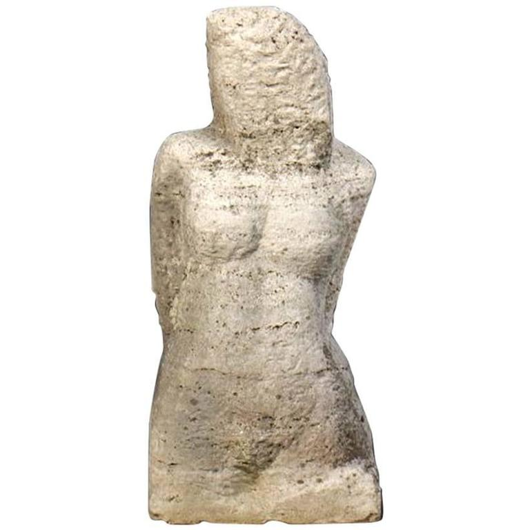 Carved Stone Sculpture of a Female Head and Torso 1