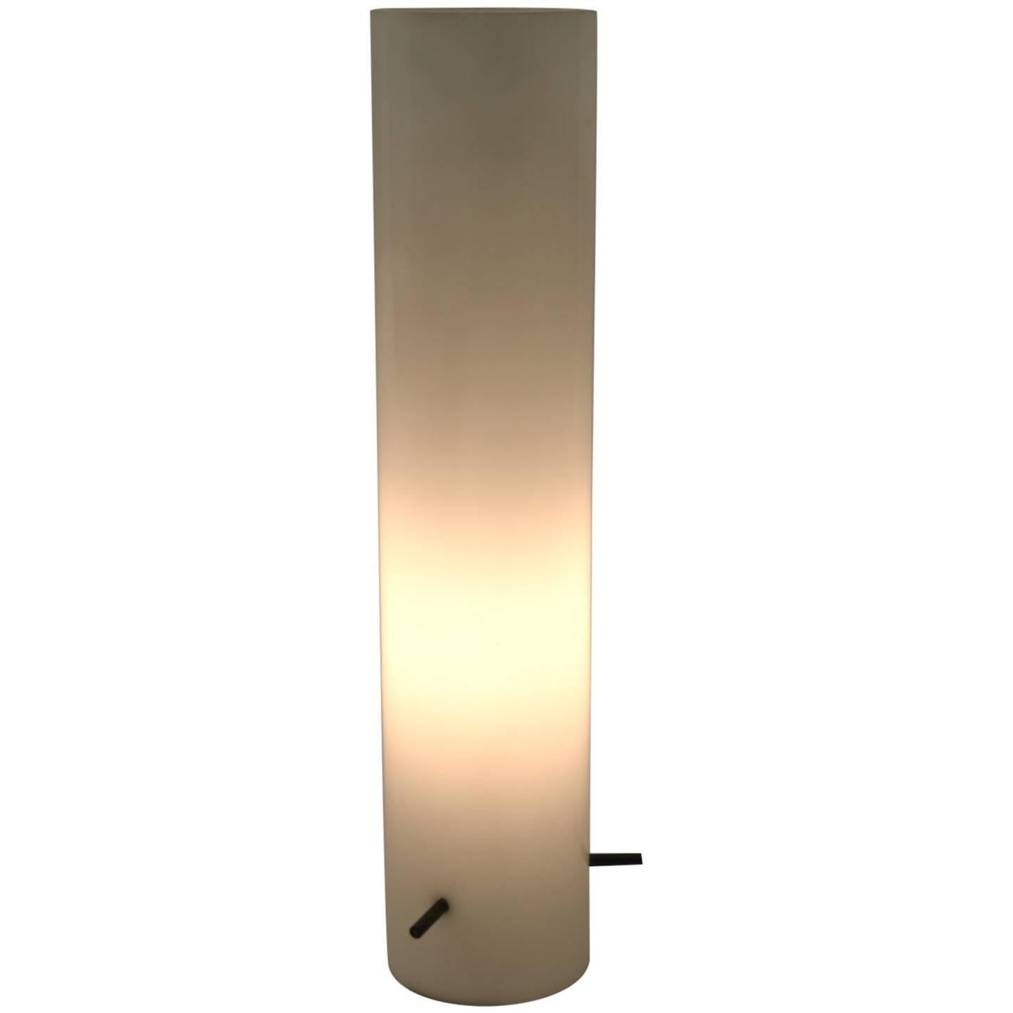 Cylindrical Glass Table Lamp Attributed to Stilnovo