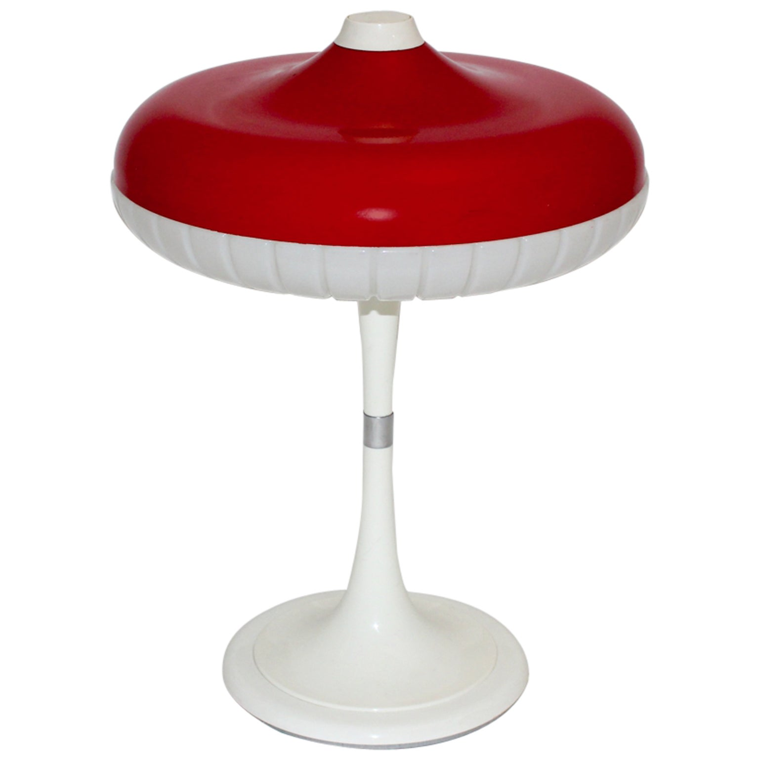 Red White Space Age Pop Art Vintage Table Lamp by Siemens  Germany 1960s