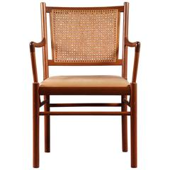 Ole Wascher leather and cane, mahogany arm chair