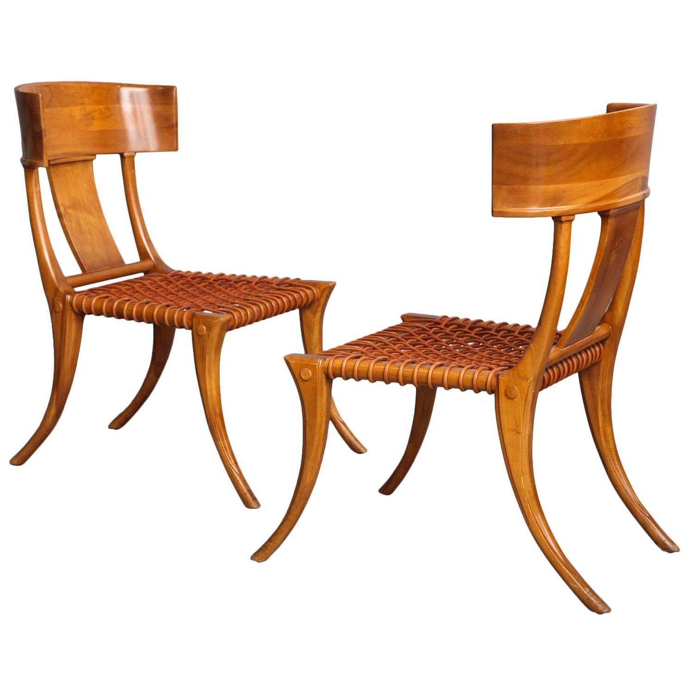 Pair of T H Robsjohn Gibbings Klismos Chairs For Sale at