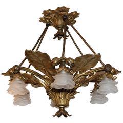 Italian Bronze Palm Chandelier