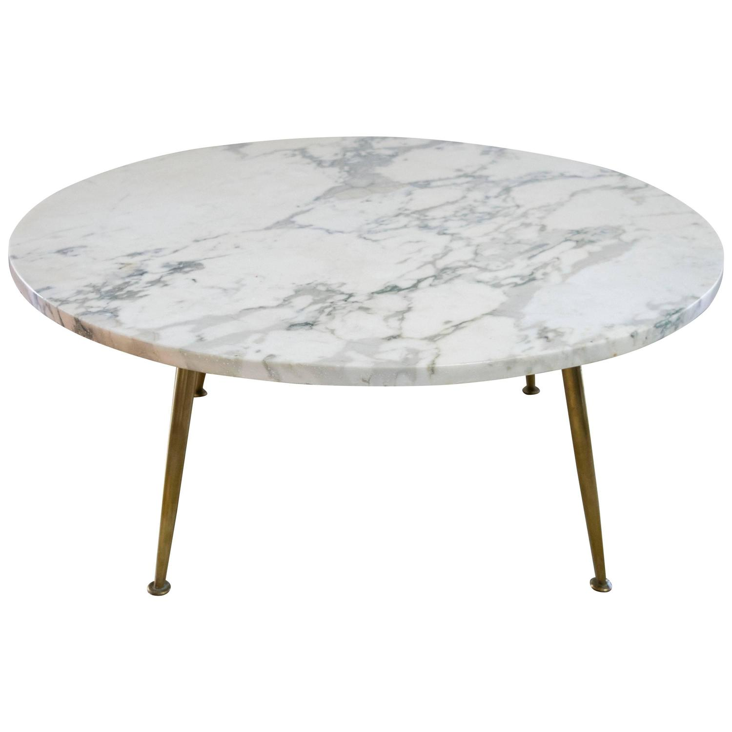Italian Carrara Marble Coffee Table with Brass Legs at 1stdibs