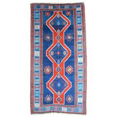 Handwoven Vabrant Blue Wool Caucasian Kazak Rug, Early 20th Century