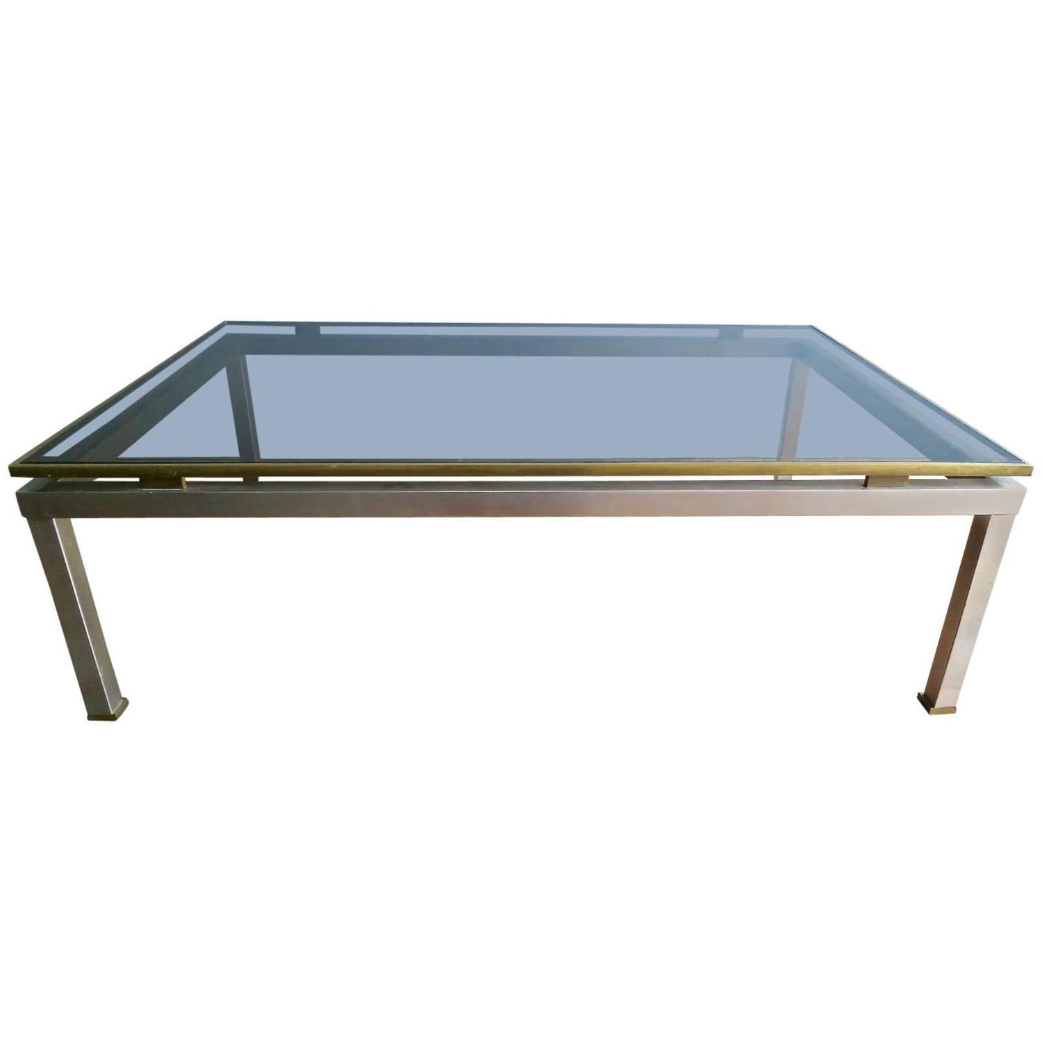 Large Brass And Steel Coffee Table By Guy Lefevre For Maison Jansen At 1stdibs