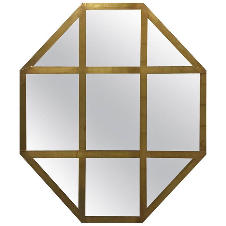 Italian Brass Octagonal Mirror