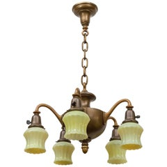 Five-Arm Chandelier with Original Custard Glass Shades