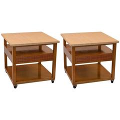 Pair of Probber Night Tables or End Tables with Marble Tops
