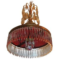 Baltic Neoclassical Doré Bronze and Crystal Red Glass Chandelier Fixture