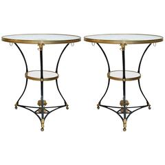 Pair of Bronze and Marble-Top Round Side Tables
