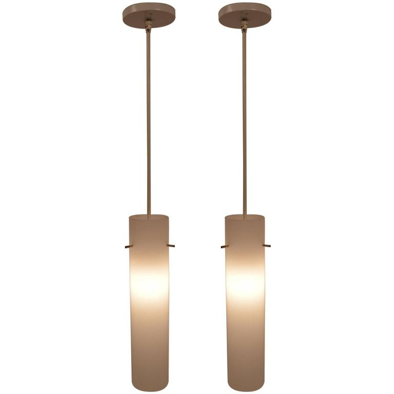 Pair Of Plastic Cylinder Hanging Lights For Sale At 1stdibs