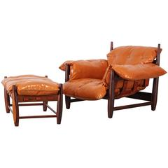 """Early Jacaranda """"Mole"""" Lounge Chair and Ottoman by Sergio Rodrigues, 1963"""