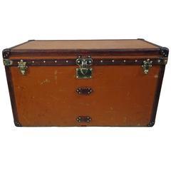 1910s Orange Louis Vuitton Steamer Trunk or Malle Courrier Vuitonite Orange