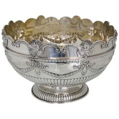 Victorian Antique Silver Monteith or Rose Bowl, London, 1881, Aldwinkle & Slater