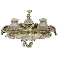 Victorian Antique Silver Gilt 19th Century Desk Inkstand London 1839 Charles Fox