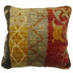Turkish Rug Pillow with Multiple Borders